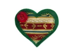 Mini Christmas Felt Brooch. Heart Shaped with by Fabrilushus, £3.00