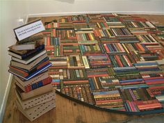 Curl up with a good book on this upcycled book rug.