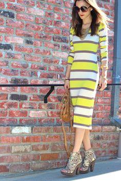 Striped Dress, a bold lip & Stella & Dot Sierra Necklace worn by Nicole of Frankie Hearts Fashion