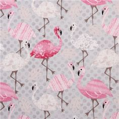 grey flamingo leaf animal fabric Timeless Treasures USA 2