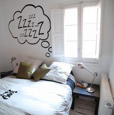 Master bedroom |  Headboard wall with handmade decorative painting.