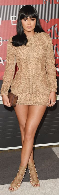 KYLIE JENNER wearing a Balmain mini dress.  MTV Music Awards 2015