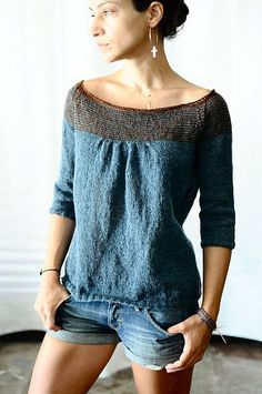 Ravelry: Rililie's Folded from designer Veera Valimaki (also on Ravelry). Love the neckline and knitter's decision to pencil-strip it plus the top of the shoulders.