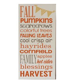 Take a look at the Cream & Orange 'Fall Pumpkins' Wall Sign on #zulily today!