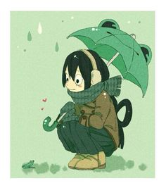 asui_tsuyu black_hair boku_no_hero_academia frog highres rain solo… My Hero Academia Tsuyu, Buko No Hero Academia, Asui Boku No Hero, Tsuyu Asui, In This House We, Manga Pictures, Girl Cartoon, Drawings, Cute