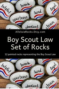 Boy Scouts Law Set of 12 Painted Stones Court of Honor Gift Boy Scout Law, Scout Leader, Cub Scouts, Girl Scouts, Hand Painted Rocks, Painted Stones, Eagle Scout Gifts, Stone Painting, Rock Painting