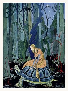 Virginia Frances Sterret, They were three months passing through the forest Illustration from Old French Fairy Tales retold by Comtesse de Ségur, 1920 Art And Illustration, Fairy Tale Illustrations, Botanical Illustration, Illustration Children, French Fairy Tales, Art Nouveau, Art Deco, Drawn Art, Fairytale Art