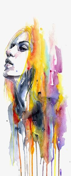 art acuarela Sunshower Fine Art Print by Agnes Cecile. Authentic giclee print artwork on paper or canvas. Wall Art purchases directly support the artist. Watercolor Face, Watercolor Art Diy, Watercolor Art Paintings, Watercolour Palette, Painting Canvas, Hair Painting, Art And Illustration, Artwork Prints, Fine Art Prints
