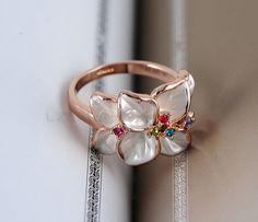 LZESHINE Christmas Big Sale Jewelry Ring 18K Rose Gold Plt Austrian Crystal White Enamel Flower Ring for Women anillos Ri-HQ1006