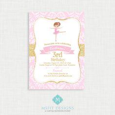 Ballerina Birthday Invitation- Ballerina Birthday Printable,  Birthday Party Invitations, DIY,  Printable Template, Birthday by MsfitDesigns on Etsy