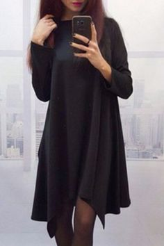 Stylish Round Neck Long Sleeve Solid Color Women's Asymmetrical Dress