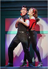 """Max Crumm and Laura Osnes as Danny and Sandy in the 2007 Broadway revival of """"Grease"""". Theatre Geek, Broadway Theatre, Musical Theatre, Broadway Shows, Theater, Grease Broadway, The Threepenny Opera, Rodgers And Hammerstein's Cinderella, Sandy Grease"""