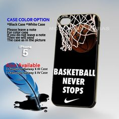 Nike Basketball Never Stop, Print on Hard Cover iPhone 5 Black Case   MonggoDiTumbas - Accessories on ArtFire