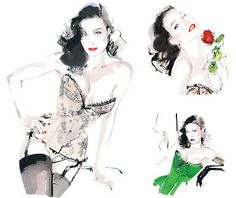 dita von teese inky fashion illustration