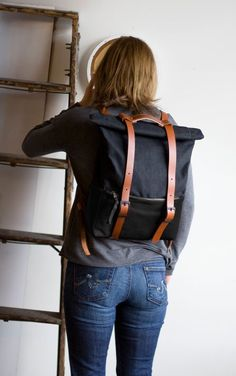 Ace Backpack in Black Leather and Black Waxed Canvas