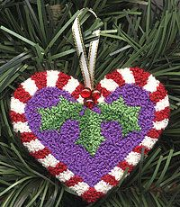 Candy Cane Heart Punchneedle, free project using Kreinik Silk Mori. Christmas Punch, Christmas Hearts, Christmas Ornaments, Website Design And Hosting, Punch Needle Patterns, Stitch Patterns, Candy Cane Ornament, Knitting Kits, Needlepoint Kits