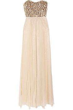 Rachel Gilbert - Danae embellished sil-chiffon gown