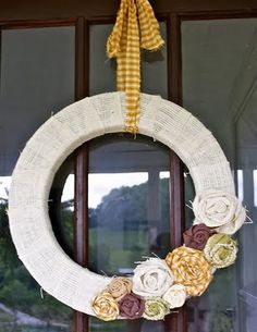 Pretty fall wreath - classic and simple - follow the link for a rosette tutorial!!