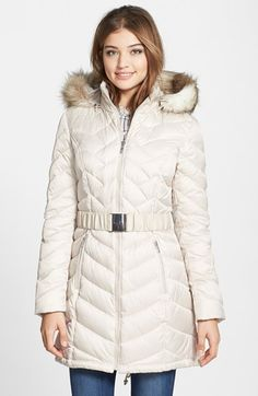 Laundry by Shelli Segal Down & Feather Fill Coat with Faux Fur Trim available at #Nordstrom