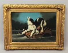 This is a superb estate found oil painting on canvas dating to the late 19th century. She is marooned atop her dog house, to which she remains chained. The dog's desperation is evident as she tries to save her puppies from from being swept away.   eBay!