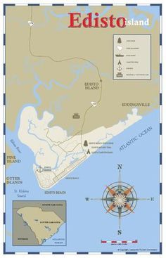 Maps of Charleston and surrounding areas, including parks and neighborhoods. South Carolina Homes, Charleston South Carolina, Charleston Sc, Island Map, Island Beach, Edisto Beach, Edisto Island, Area Map, Folly Beach