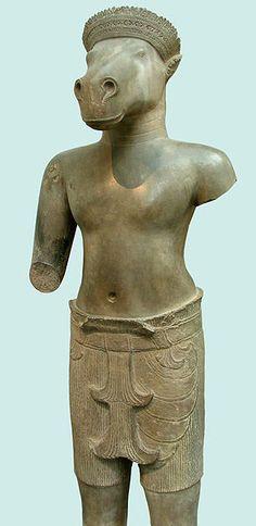 Hayagriva ('cuello de caballo') como Vayimukha ('cara de caballo'), en una escultura camboyana, actualmente en el Musée Guimet (París)