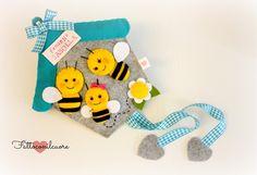 #fuoriporta di benvenuto con una simpatica famiglia di api in feltro, by fattoconilcuore, 27,00 € su #misshobby.com