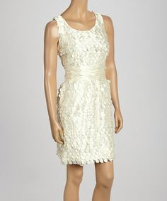 Take a look at this Beige Laser Cut Taffeta Dress by Samuel Dong on #zulily today! $70 !!
