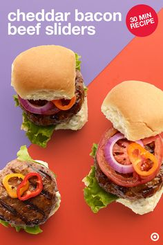 Perfect for serving up as a fun family meal or party appetizer. These are insanely delicious and packed with flavor. All you need to do: combine slider ingredients (ground beef, chopped bacon, Worcestershire sauce, onion & garlic powder) in a large bowl. Form into patties, pop them on the grill, turning over until done. Split buns and spread on some mayo. Add the patties and toppings. Then, put colorful picks through sliders to keep them in place. Enjoy!