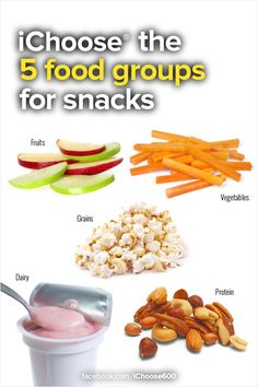 Keep choosing snack ideas from the five food groups. Ideas include:  apple slices, carrot sticks, low-fat yogurt, plain popcorn, and mixed nuts.