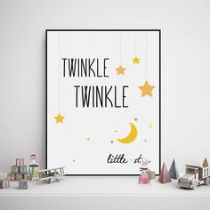 Freeshipping Nordic Minimalist Twinkle Star Typography Music Quotes Art Print Poster Wall Picture Canvas Painting No Frame Kids Room Decor by TheMildArt via ETSY