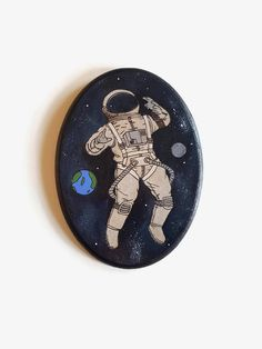 Astronaut Wood Sign - Outer Space, Wood Burning Art, Pyrography, Acrylic Painting, Astronaut in Space, Wooden Sign, Boys Room Decor