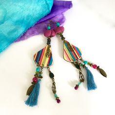 Boucles d'oreilles Bohème chic Bobo hippie style Pièce unique : Boucles d'oreille par la-perruche-de-rio