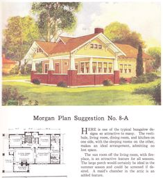 "House plan published in millwork catalog in1921 by the Morgan Woodwork Organization and called ""Building with Assurance."""