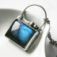 "Labradorite and Sterling Silver Necklace ""The Handbag Pendant"""