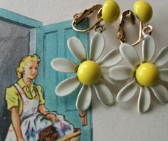 I remember my mom wearing these earrings with a matching dress...;)etsy