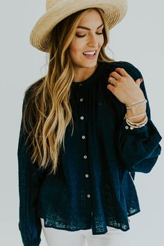 Free People Down From The Clouds Blouse In Navy | ROOLEE
