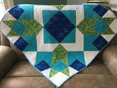 Modern Style Baby Quilt for sale from http://www.HomeSewnByCarolyn.com