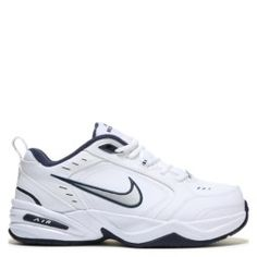 new style 232f6 67a48 Nike Air Monarch IV X-Wide Walking Shoe White  Silver  Navy Sneakers Nike