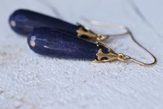 Purple Violet Faceted Jade 24K gold plated earrings by nonnasoul, $45.00