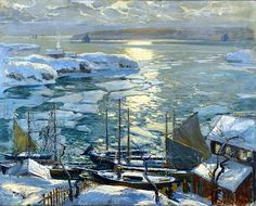 paintingbox:  Jonas Lie (1880-1940). The Old Ships Draw to Home Again, 1920. Oil on canvas, 40 x 50 in.