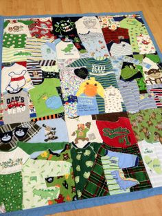 First Year Quilts | how fun!! This would be so neat for them to have with all the little outfits they wore their first year of life!:'( Tooo cute!!