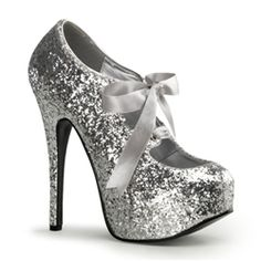 """$89 Bordello Teeze 10G in Silver Glitter. 5 3/4"""" Heel Glitter Platform with Sparkly Glitter and Mary Jane Ribbon Bow Tie across the front."""