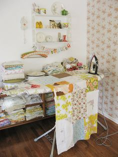 dreamy--look at all those vintage linens! swoon.