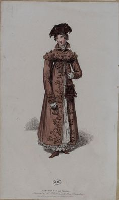 Pelisse, early 19th century, probably plum coloured. Mmm I have some plum coloured velvet that would be just right for this kind of project!  Notice the head covering too.