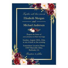 Rustic Burgundy Floral Gold Navy Blue Wedding Card - tap to personalize and get yours
