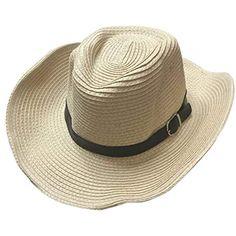 Comhats Cappello Estivo da Uomo in Paglia con Tesa Corta e Fascia Ripiegabile