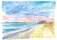 """Saatchi Art is pleased to offer the painting, """"Outer Banks Pier At Nags Head At Sunset,"""" by M Bleichner, available for purchase at $249 USD. Original Painting: Watercolor on Paper. Size is 7.9 H x 11.8 W x 0.4 in. Nags Head Pier, Wall Tattoos, City Skyline Art, City Skylines, Original Paintings For Sale, Original Artwork, Art Sur Toile, Impressionism Art, Reproduction"""