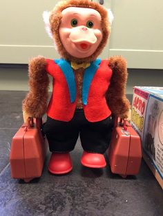Rare Vintage Battery Operated Acro Chimp Porter with Original Box, Fully Working Tin Toys, Acro, Classic Toys, Battery Operated, Japan, The Originals, Box, Vintage, Style