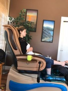 Friend enjoying her first ever pedicure, Natural Synergy Day Spa, Parksville, BC